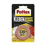 Pattex Kleben statt Bohren Klebeband, extra starkes doppelseitiges Klebeband, Doppelklebeband für Montagearbeiten innen & außen, Wandbefestigung ohne Bohren, 19mm x 1,5m