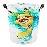 Großer Wäschekorb, Pokemon Leinen, rund, mit Griffen für Kinder-Badezimmer, Körbe, Aufbewahrungs-Organizer für Kleidung, Spielzeug, 43,9 x 41,9 cm