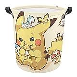 Große Wäschekörbe mit Pokemon-Motiv, aus Leinen, mit Griff für die Aufbewahrung von Spielzeug im Kinderzimmer, Babyzimmer