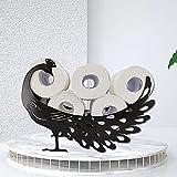 Bomoya Toilettenpapierhalter, Pfauenmotiv, freistehend und wandmontiert, Toilettenpapier-Aufbewahrung, Rollenhalter mit schwarzem Pfauenfigur, Statue, Ornament für Wohnzimmer und Badezimmer