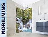 NORILIVING Duschrückwand Fliesenersatz Dusche 80x200 cm Motiv Wasserfall Kuang Si   Duschwand ohne Bohren 2 teilig kostenloser Zuschnitt auf Wunschformat   Wandverkleidung Bad Aluverbundplatte 3mm