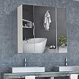 DICTAC spiegelschrank Bad Badezimmer spiegelschrank 70 x 15 x 60cm (B x T x H) 70 cm breit Wandspiegel badspiegel mit höhenverstellbarer ablage Hängeschrank Badschrank mit Spiegel und 3 Türen Weiß