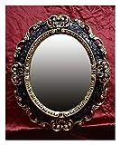 Lnxp WANDSPIEGEL Spiegel OVAL in Schwarz Gold Dualcolor REPRO 45x38 ANTIK BAROCK Rokoko REPLIKATE NOSTALGISCH Renaissance BAROCKSTIL