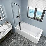 Badewannen Duschabtrennung Sicherheitsglas hell,Duschwand Duschabtrennung Nano Glas (mit Stabilisierungsstange90x140cm)